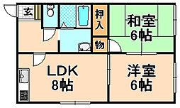 兵庫県伊丹市千僧1丁目の賃貸アパートの間取り