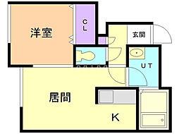 フルハウスN42 1階1LDKの間取り
