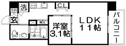 Osaka Metro四つ橋線 肥後橋駅 徒歩3分の賃貸マンション 7階1LDKの間取り