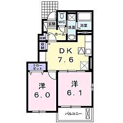 香川県三豊市三野町下高瀬の賃貸アパートの間取り