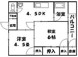 大宮蓑代コーポ[4階]の間取り