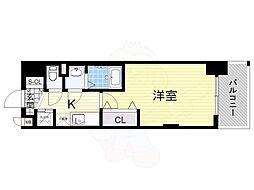 Luxe新大阪α 5階1Kの間取り