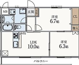 兵庫県神戸市垂水区五色山2丁目の賃貸アパートの間取り