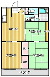 ローズハイツB棟[2階]の間取り