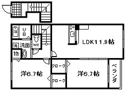 JR阪和線 和泉砂川駅 徒歩3分の賃貸アパート 2階2LDKの間取り