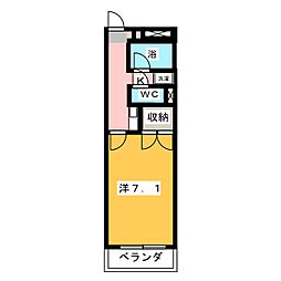 ユースハイム八剣[1階]の間取り