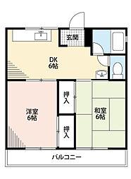 福岡県北九州市八幡西区相生町の賃貸マンションの間取り