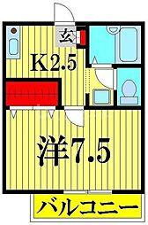 ソレジオ幸子 2階1Kの間取り
