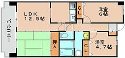 福岡県福岡市東区土井3丁目の賃貸マンションの間取り