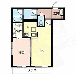南海高野線 北野田駅 徒歩6分の賃貸マンション 1階1LDKの間取り