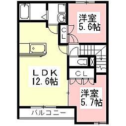 岐阜県羽島市江吉良町の賃貸アパートの間取り
