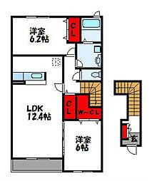 福岡県古賀市花鶴丘1丁目の賃貸アパートの間取り
