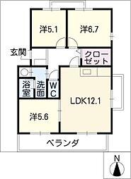 HILLS−T´s B棟[2階]の間取り