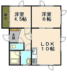 コーポミキ 桜[A号室]の間取り