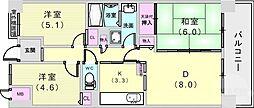 ウエストコート8番街・2番館 1階3LDKの間取り