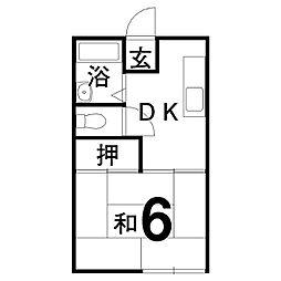 レジデンスK 1階1DKの間取り