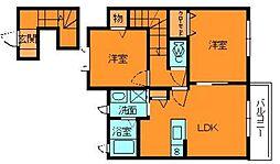 奈良県大和郡山市池沢町の賃貸アパートの間取り