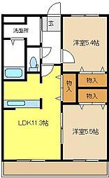 愛知県豊明市栄町南舘の賃貸アパートの間取り