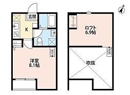 JR京葉線 蘇我駅 徒歩18分の賃貸アパート 2階1Kの間取り