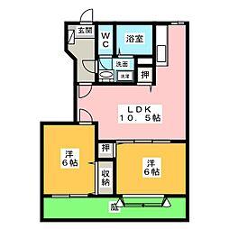 ルナパークII C棟[1階]の間取り
