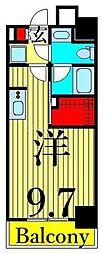 JR山手線 日暮里駅 徒歩11分の賃貸マンション 8階ワンルームの間取り