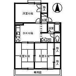 ハーモニック・フィール1B棟[102 号室号室]の間取り