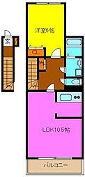 岩田町K様アパート新築工事[2階]の間取り