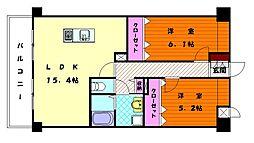 プラトウズ名島[2階]の間取り