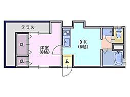 山谷アパート[1階]の間取り