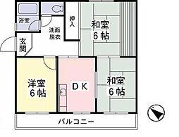メイゾンクレーユ多摩[201号室]の間取り