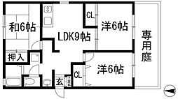 兵庫県西宮市上甲東園2丁目の賃貸マンションの間取り