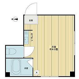 東京メトロ有楽町線 江戸川橋駅 徒歩3分の賃貸アパート 2階ワンルームの間取り