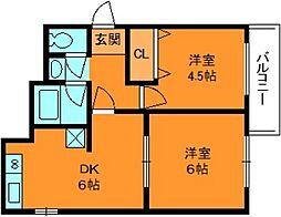 五位堂片岡マンション[5階]の間取り