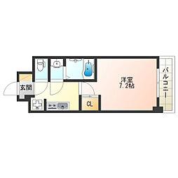 Osaka Metro御堂筋線 昭和町駅 徒歩4分の賃貸マンション 6階1Kの間取り
