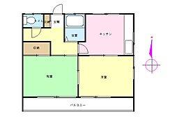 神奈川県横浜市中区西竹之丸の賃貸アパートの間取り