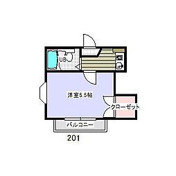 トラストハウス[201号室]の間取り