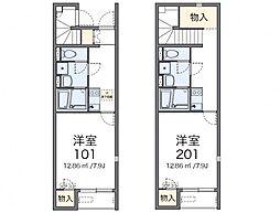 名鉄尾西線 西一宮駅 徒歩6分の賃貸アパート 2階1Kの間取り