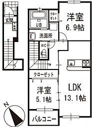 シャリエ 2階[203号室]の間取り