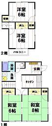 [一戸建] 長野県長野市上松1丁目 の賃貸【/】の間取り