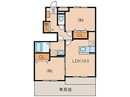 和歌山県紀の川市古和田の賃貸アパートの間取り