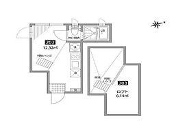 小田急小田原線 梅ヶ丘駅 徒歩7分の賃貸アパート 2階ワンルームの間取り