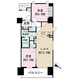 ザ・パークハビオ目黒 14階2LDKの間取り