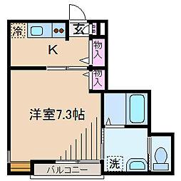 神奈川県川崎市中原区井田3丁目の賃貸アパートの間取り