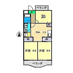 シャルム葛島[3階]の間取り