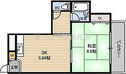 ロータリーマンション徳庵 1階1DKの間取り
