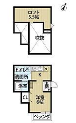 M萩原天神[2階]の間取り