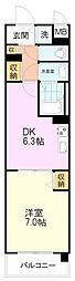 パルクレール 3階1DKの間取り