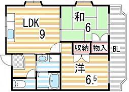 エステート野崎[3階]の間取り