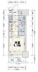 ララプレイス大阪新町ヴェレ 5階1Kの間取り
