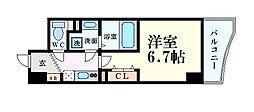 セレニテ心斎橋グランデ 9階1Kの間取り